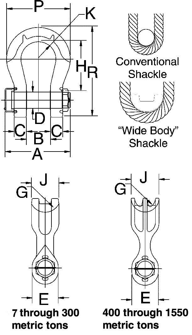 Crosby G-2160E Alloy Bolt Type Wide Body Shackle measurements